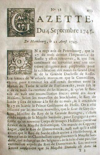 Rare original 1745 French language newspaper GAZETTE Paris FRANCE 265 years old