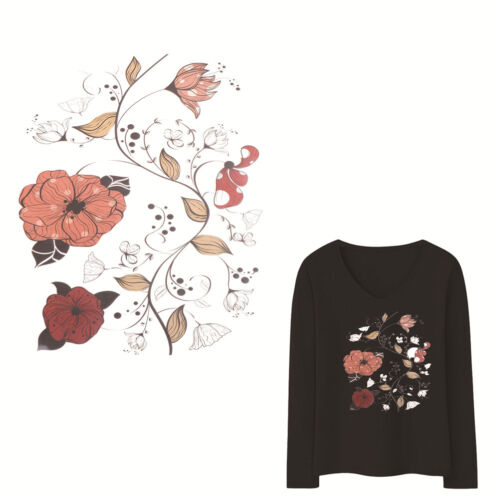 Flowers Patches For Clothes DIY Washable Transfer Iron on Stickers Appliques DCP