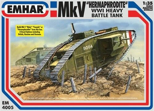 EMHAR EM 4005 MkV Hermaphrodite WWl Heavy Battle tank Plastic Kit 1 35 Scale T48
