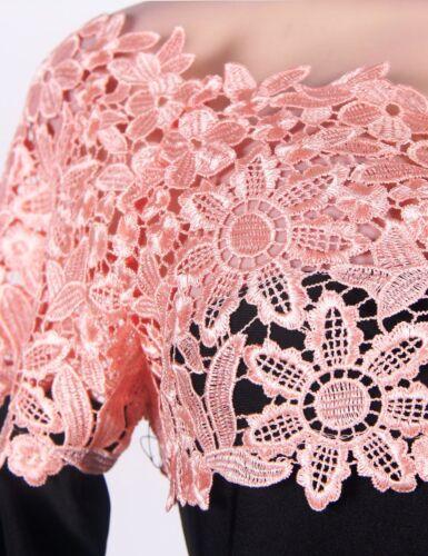 Größe 38-44 Suzanjas Abendkleid in Schwarz mit rosa Spitze