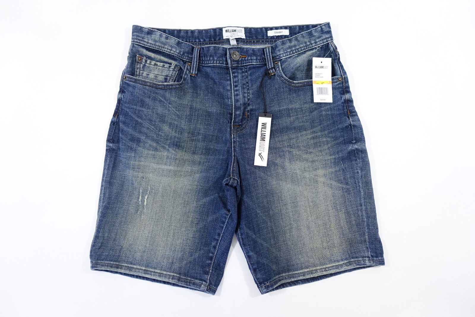 WILLIAM RAST REVVED E2 SERIES FADED 33 DISTRESSED STRAIGHT DENIM JEANS SHORTS