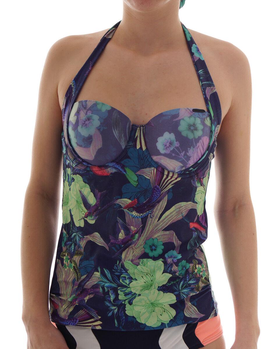 Brunotti Tankini Bikini Camicia Male Solio blue Laccio Al collo Tropical Coppa