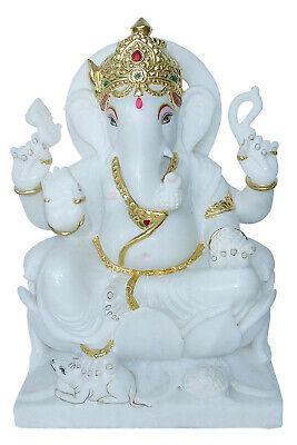 15 Inch Pure White Marble Ganesh Statue Ganesha Murti Moorti Idols