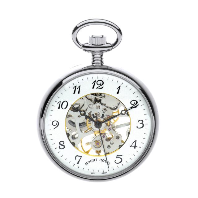 Acabado Chapado Cara Abierta Esqueleto Bolsillo Reloj por Mount Royal - Modelo N