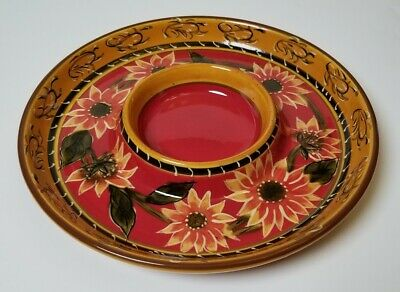 "Pier 1 Imports Sunflower Serving Platter// Chip /& Dip 12"" MINT Hand painted Terra"