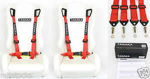 """2 X TANAKA UNIVERSAL RED 4 POINT BUCKLE RACING SEAT BELT HARNESS 2"""""""