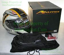 NEW AKUMA GHOST RIDER Jolly Rogers F14 Tomcat NAVY Motorcycle Helmet Large MATTE