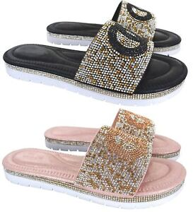 a93f98783522 LADIES WOMENS FLAT LOW HEEL DIAMANTE SUMMER COMFY SLIP ON SANDALS ...