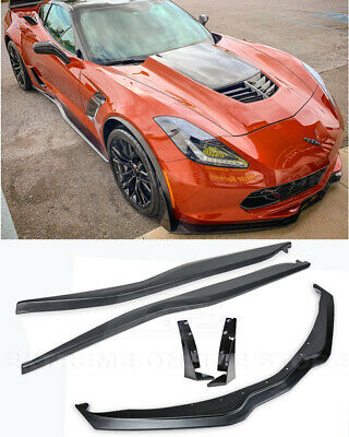 EOS Z06 Style ABS Plastic Primered Black Side Skirts Rocker Panels Extension for 2014-Present Chevrolet Corvette C7 All Models