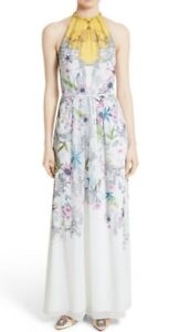 Ted baker white ellly passion flower print halter chiffon maxi dress image is loading ted baker white ellly passion flower print halter mightylinksfo