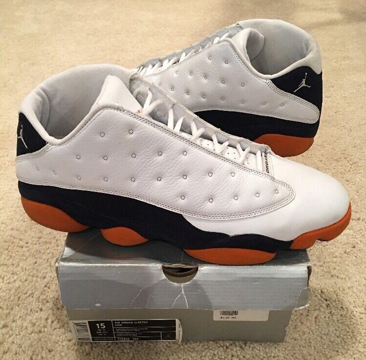 Nike air jordan retrò 13 xiii basso numero 15 di siracusa bianco blu navy orange 2005
