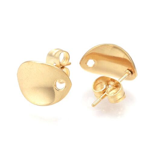 10 Sets 304 Stainless Steel Earring Posts Twisted Oval Gold Loop w// Earnut 11mm