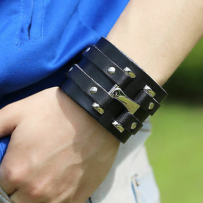 Mens Genuine Leather Bangle Retro Punk Style Wrap Wristband Alloy Cuff Bracelet
