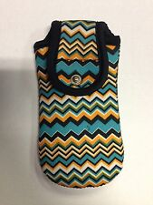 Teal, Orange & Black Zigzag Cell Phone Case w/ Velcro Fasten & Snap Back