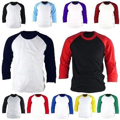 Mens Womens 3/4 Sleeve Raglan Baseball Vintage Casual TShirts Tee Jersey Top