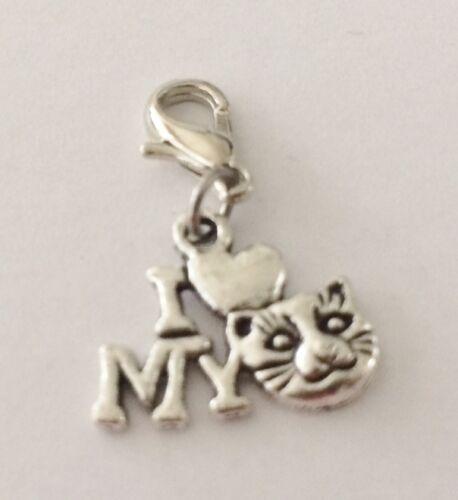 """Precioso /""""me encanta mi gato/"""" Clip encanto para bracelets-tibetian Silver-Nuevo"""
