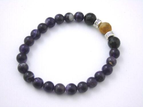 Bracelet  Amethyst Black Tourmaline Tiger Eye Natural Stones Crystal Healing