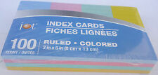 Index Cards Ruled Colored Blue Red Green Yellow 3 X 5 Inches 100 Countpack