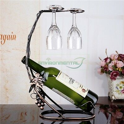 Metal Wine Rack Bottle Glass Cups Holder Modern Table Support Organizer