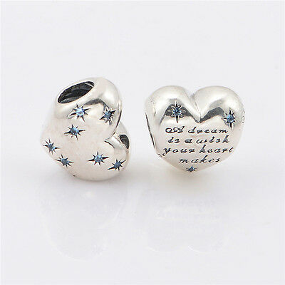 CINDERELLA DREAM HEART 925 Sterling Silver Solid Charm Bead Bracelet