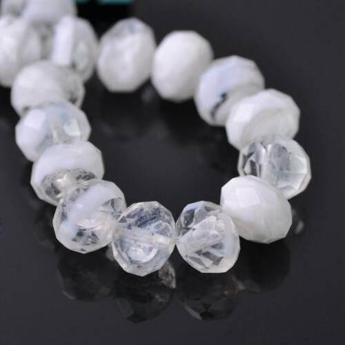 10pcs 12x8mm Rondelle Faceted Crystal Lampwork Flower Loose Beads Jewelry Making