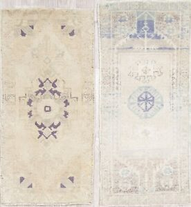 Set-of-2-Antique-Washed-Muted-Oushak-Turkish-Hand-Knotted-2-039-x3-039-Distressed-Rug