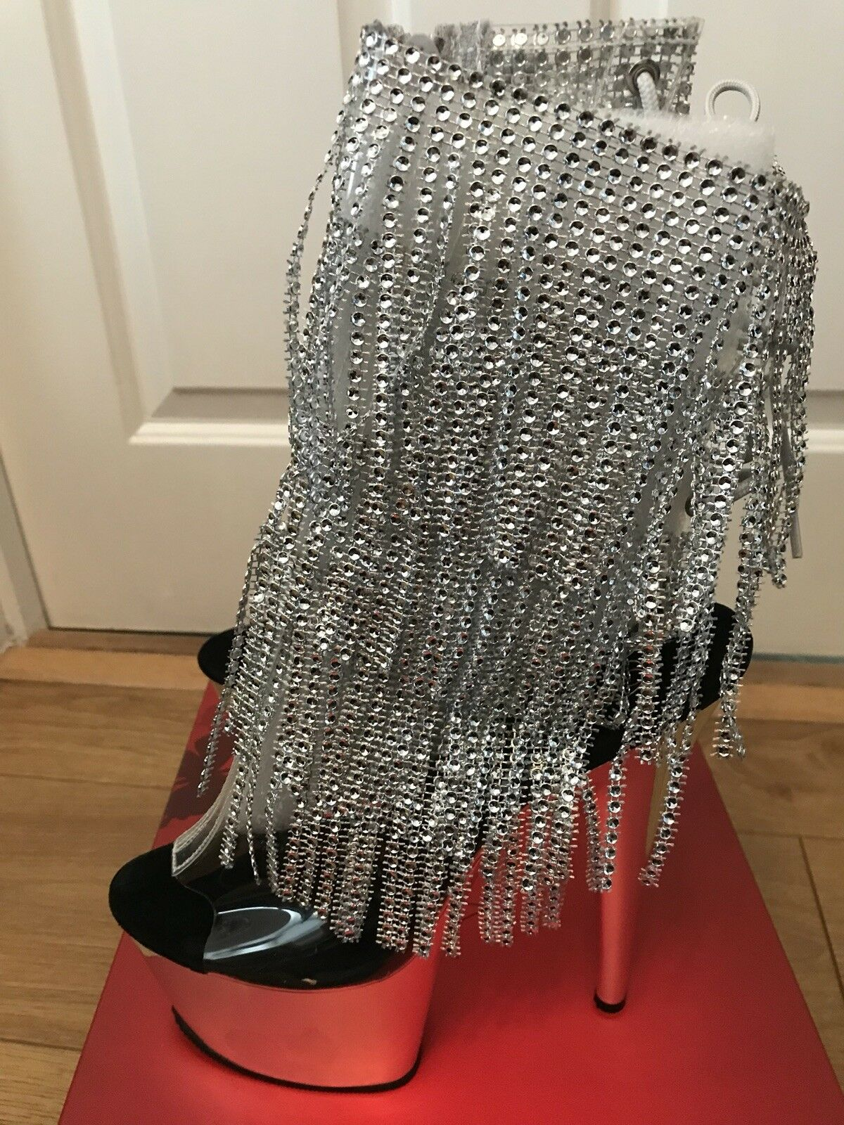 Pleaser Adore Adore Adore 1017RSF Sexy Silver Rhinestone Ankle Boots UK size 5 New in Box fb2986