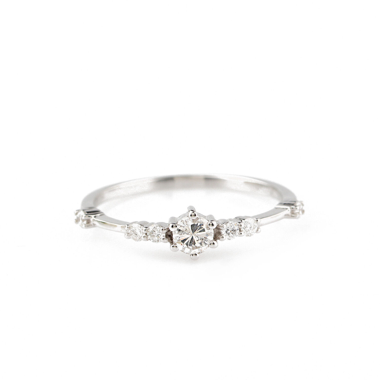Round Cut 0.15CT Natural Diamond 18K gold Promise Engagement Wedding Ring