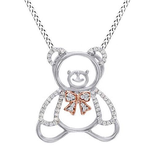 0.25 Cttw Round Diamond Teddy Bear Bow Pendant Necklace 14K White Gold Over