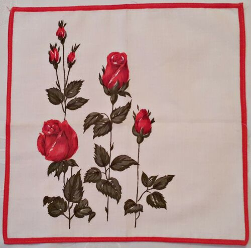 "VINTAGE FLORAL ARTROSES RED BORDER WHITE COTTON 9.5/"" HANDKERCHIEF"