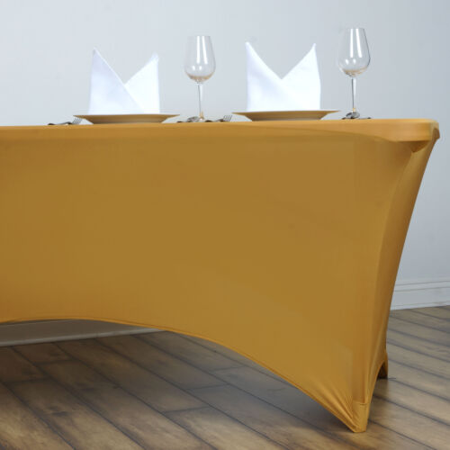 Champagne Stretch Spandex 6 ft Rectangular Table Cover Spandex Table Covers