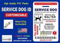 Service Dog Id Card / Badge (hologram On Both Sides) Ada Assistance Tag For Vest