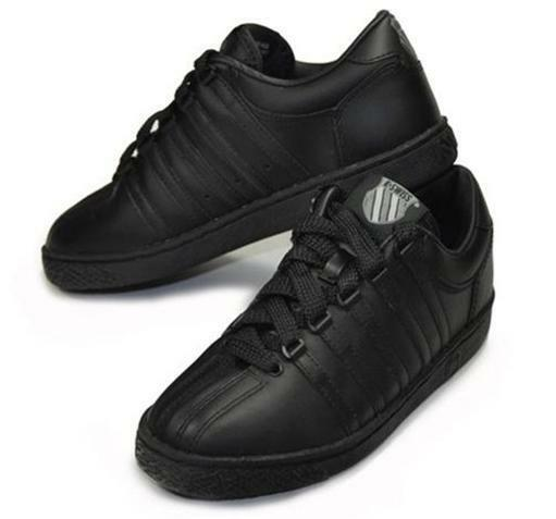 K-Swiss Women Classic Leather shoes Black Fashion Sneakers Medium Width 80144