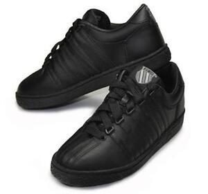 K-Swiss Women Classic Leather Shoes Black Fashion Sneakers Medium Width 80144