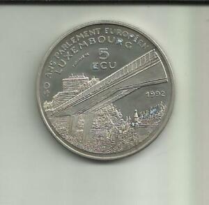LUXEMBOURG-5-ECU-1992-CHARLES-IV-EMPEROR-RARE-8RW-20MAI