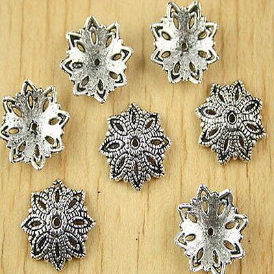 30pcs Tibetan silver flower beads cap h2726