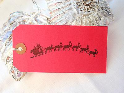 10 Red Santa Sleigh and Reindeer Christmas Gift Tags Handmade