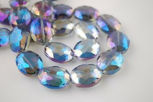 10pcs-16X12mm-Oval-Faceted-Crystal-Glass-Charms-Loose-Beads-Blue-Colorized-New
