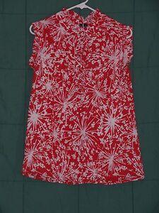 Women-039-s-Size-Med-RELATIVITY-Red-White-Sleeveless-Ruffle-Shirt-Top-Blouse-Tunic