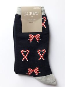 NEW Navy J. CREW Hearts & Bows Candy Print Trouser SOCKS, Cotton-Blend