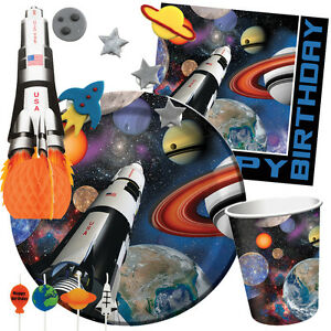 SPACE-BLAST-Birthday-Party-Range-Rocket-Ship-Planets-Tableware-amp-Decorations