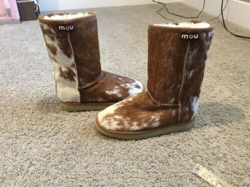Mou Womens Cow Print Winter Boots