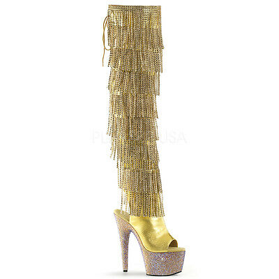 """7"""" Gold Thigh High Tassels Stripper Heels Pole Dancer Boots Bejeweled-3019RSF"""
