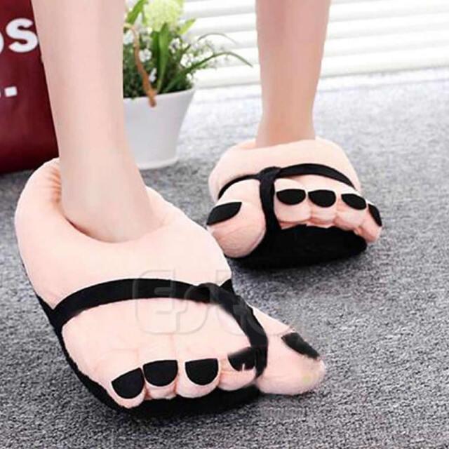 Funny Cute Women Warm Winter Soft Velvet Cartoon Big Feet Home Floor Slippers