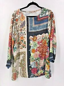 Soft-Surroundings-Ashbury-Velvet-Floral-Top-Tunic-Long-Sleeve-Size-Small