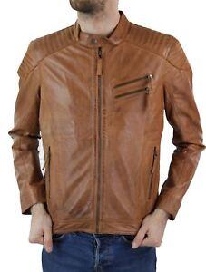 Blouson cuir marron clair