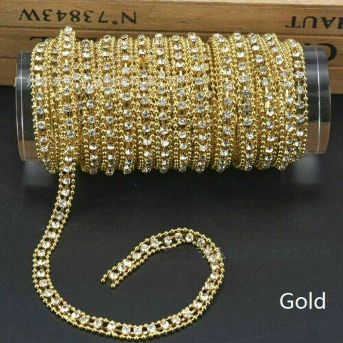 4.6m Perlen Strass Kette Rand DIY Materialien Band Gold Silber Glänzend
