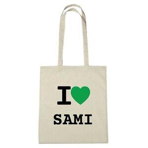 Umwelttasche - I love SAMI - Jutebeutel Ökotasche - Farbe: natur