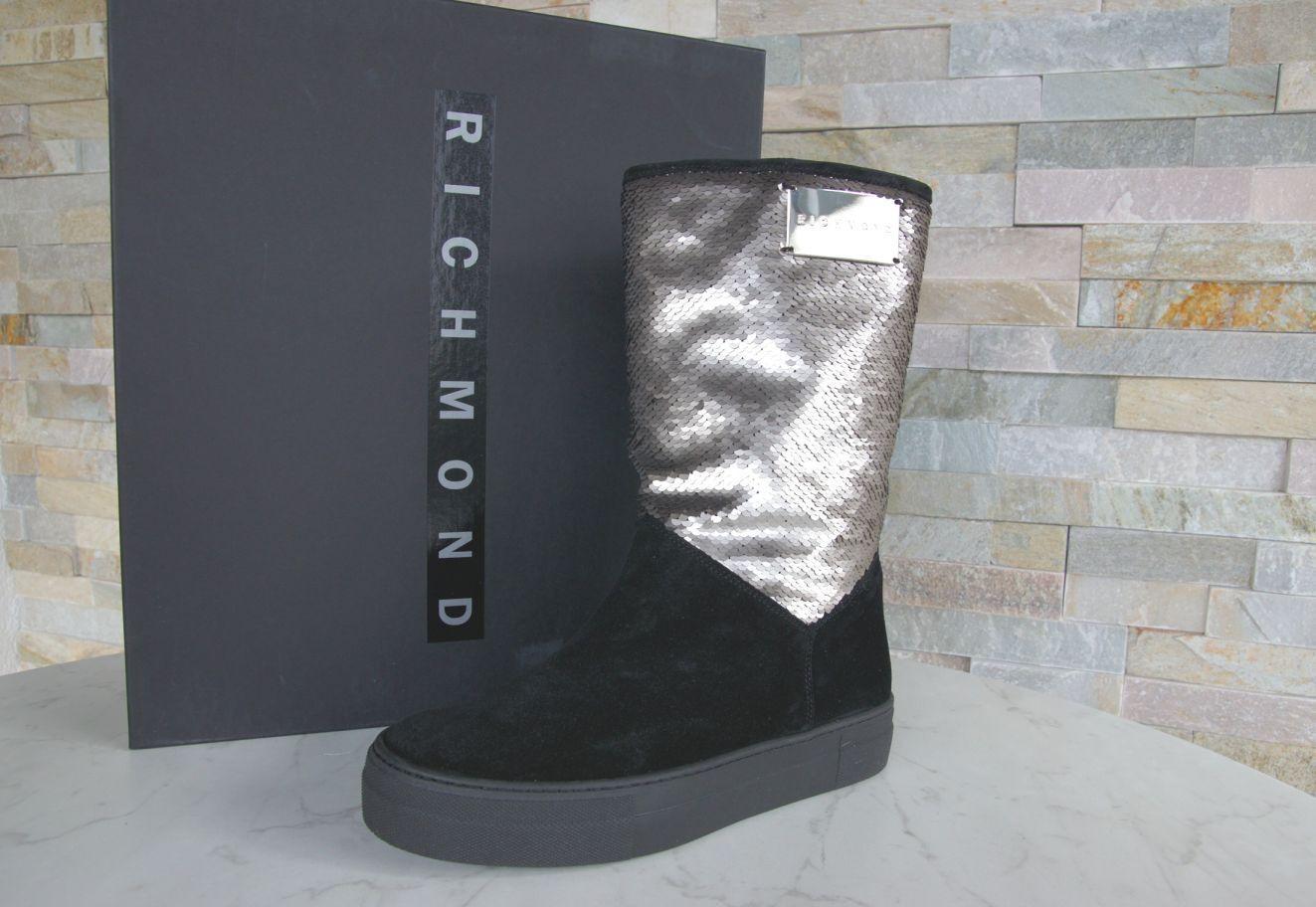 Richmond Gr 36 botas de Invierno Piel Zapatos Lentejuelas Nuevo Antiguo