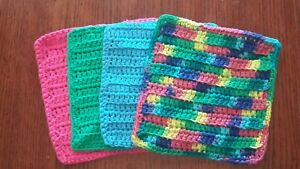 Lot-of-4-New-Rainbow-PInk-Blue-Handmade-Crocheted-100-Cotton-Dish-Wash-Cloths